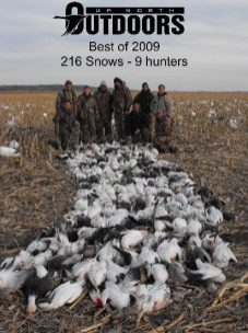"""This is one of the best days I have ever seen on our spring snow goose hunts. This field shot 216 snow geese on March 11, 2009. This day is often referred to as """"Bloody Wednesday"""" because there was so many snow geese shot that day."""