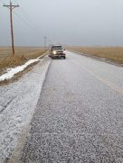 This is a picture form Missouri. It takes us 3 days to get all of the gear in the fields ready to hunt. This is what happened while driving to the last field to set. This was ice ball that covered the road in a couple minutes.