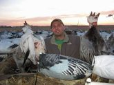This hunter poses with some of the snow and blue geese he harvested.