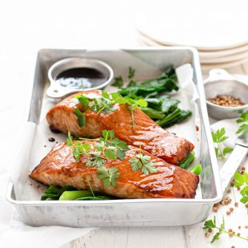 Soy Glazed Baked Huon Salmon With Chinese Broccoli