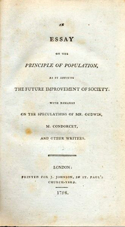 Title page of the original edition of An Essay on the Principle of Population.
