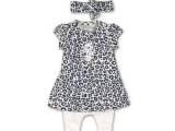 31C-34301 2 pce babysuit + headband White + blue aop