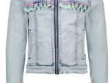 Girls denim jacket with mutli coloured horizontal ruffle Light denim