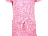 Y005-5840 Girls dress with dot aop and belt dots pink lollypop