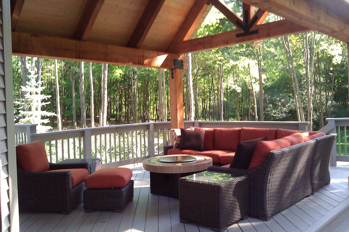 wood deck structure seating area