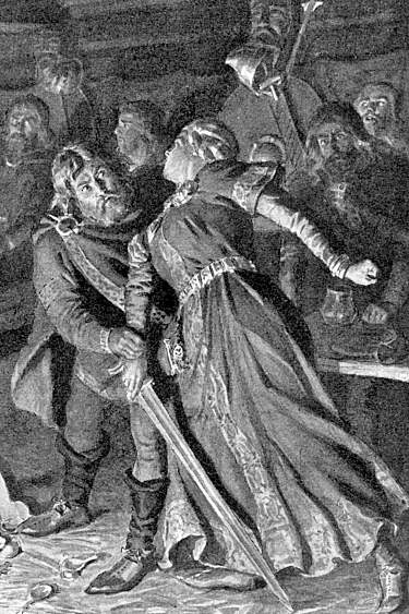 Thordis seizing the sword to attack Eyjolf after he has killed her brother Gisli