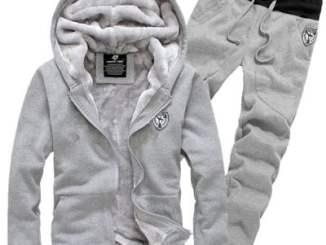 Hooded Badge Embroidery Long Sleeve Men's Sherpa Hoodie Suit(Hoodie+Pants)