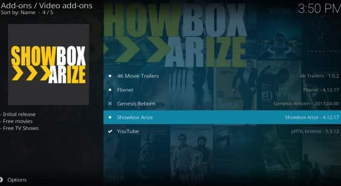 Showbox Arize Addon Guide - Kodi Reviews