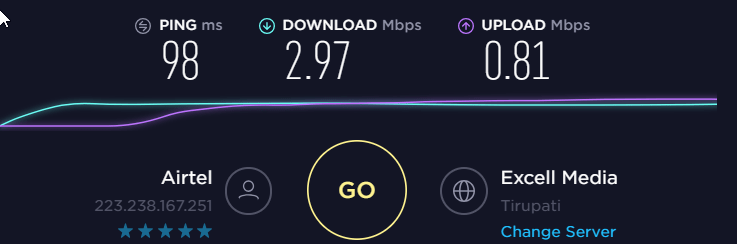 IronSocket vpn Speedtest Baseline