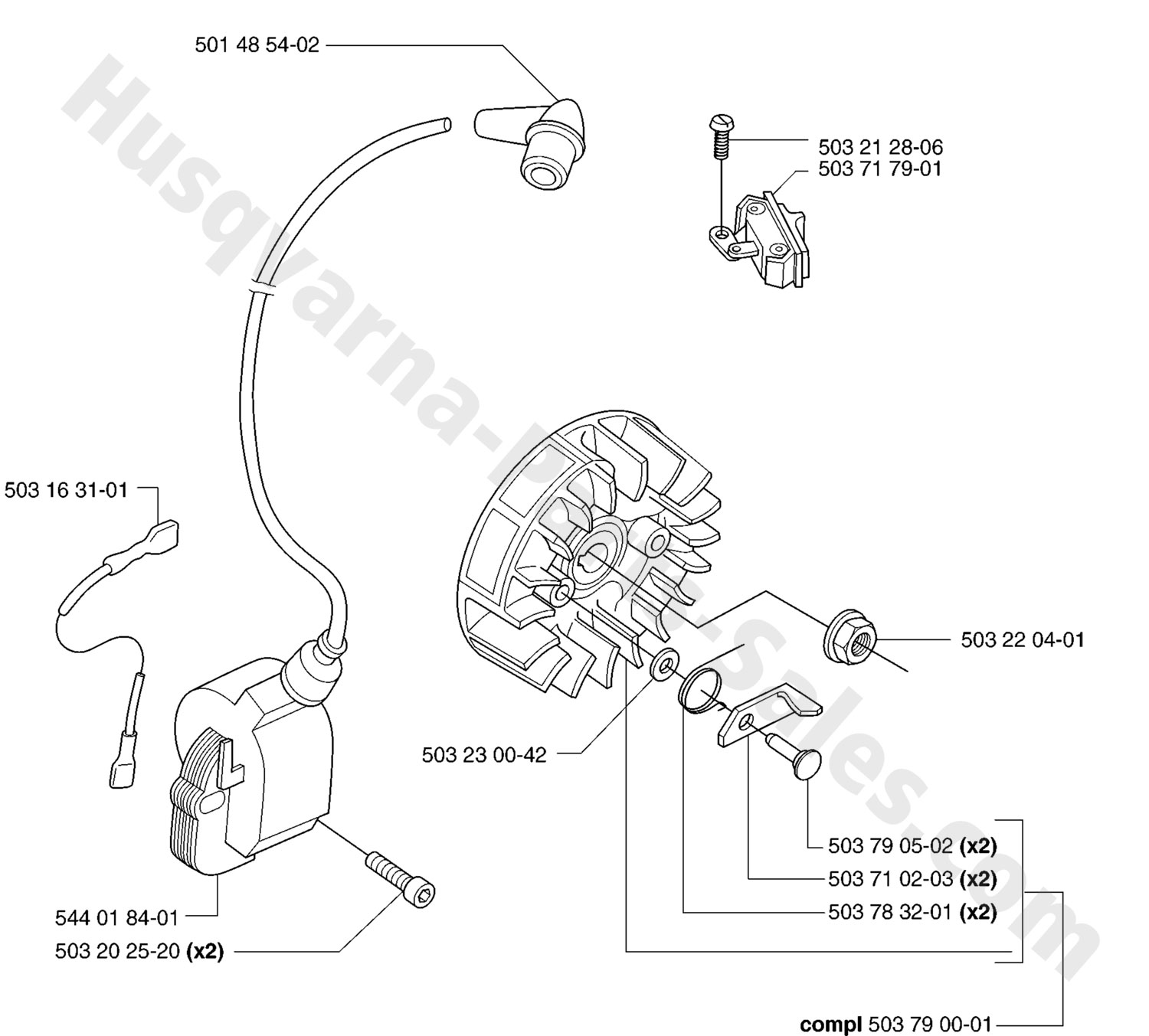 55 Husqvarna Chainsaw Ignition System Parts