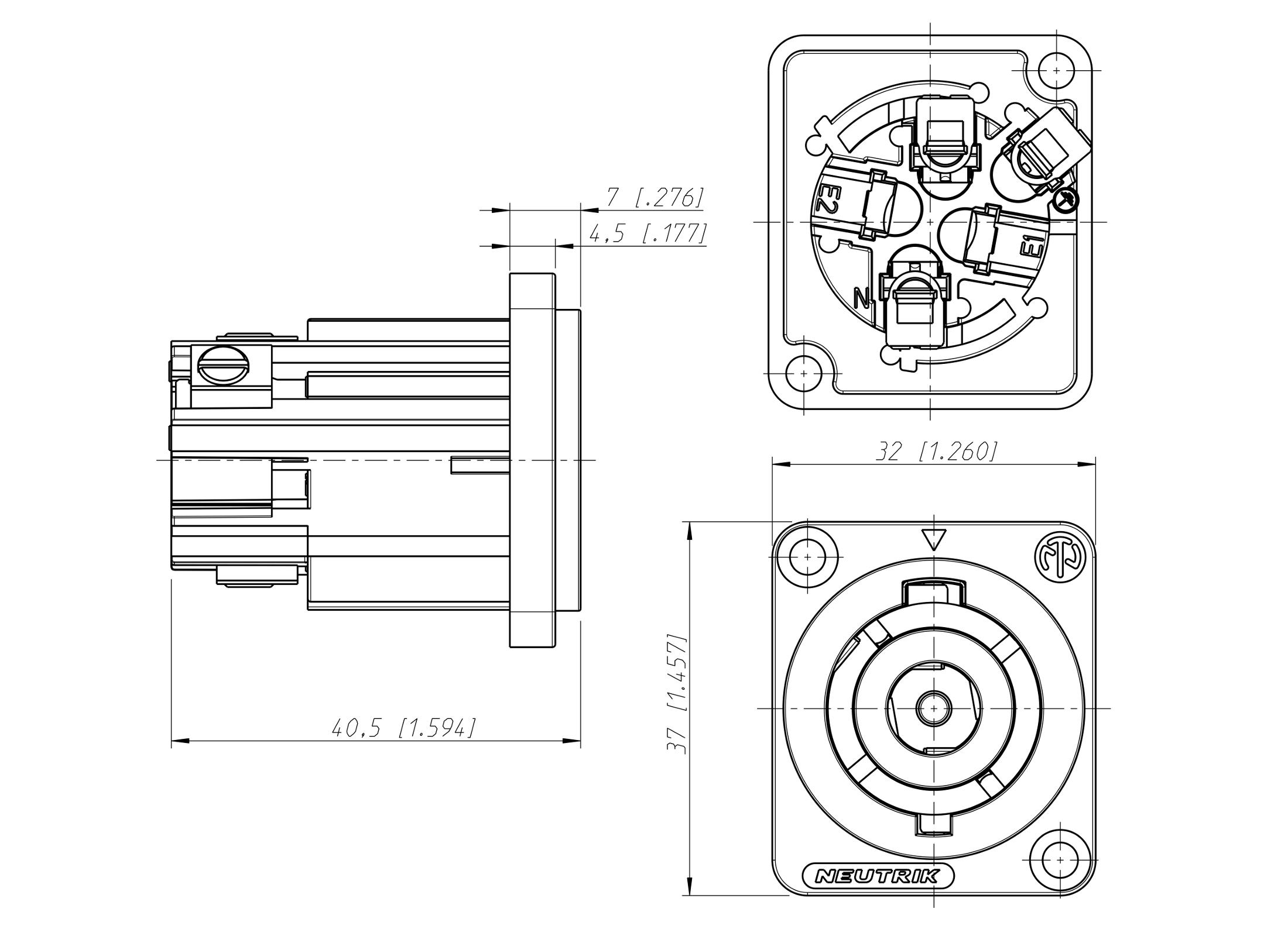 Neutrik Nac3mp Hc Powercon Einbaubuchse Male Gunstig