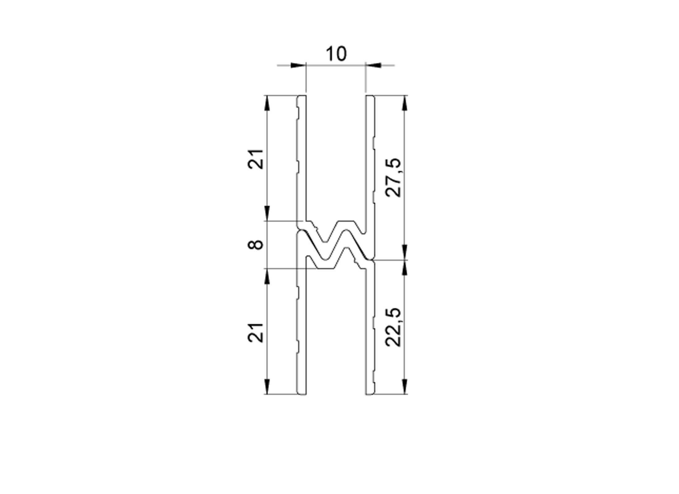 Adam Hall Schlie Profil Hybrid Alu F 10mm Holz