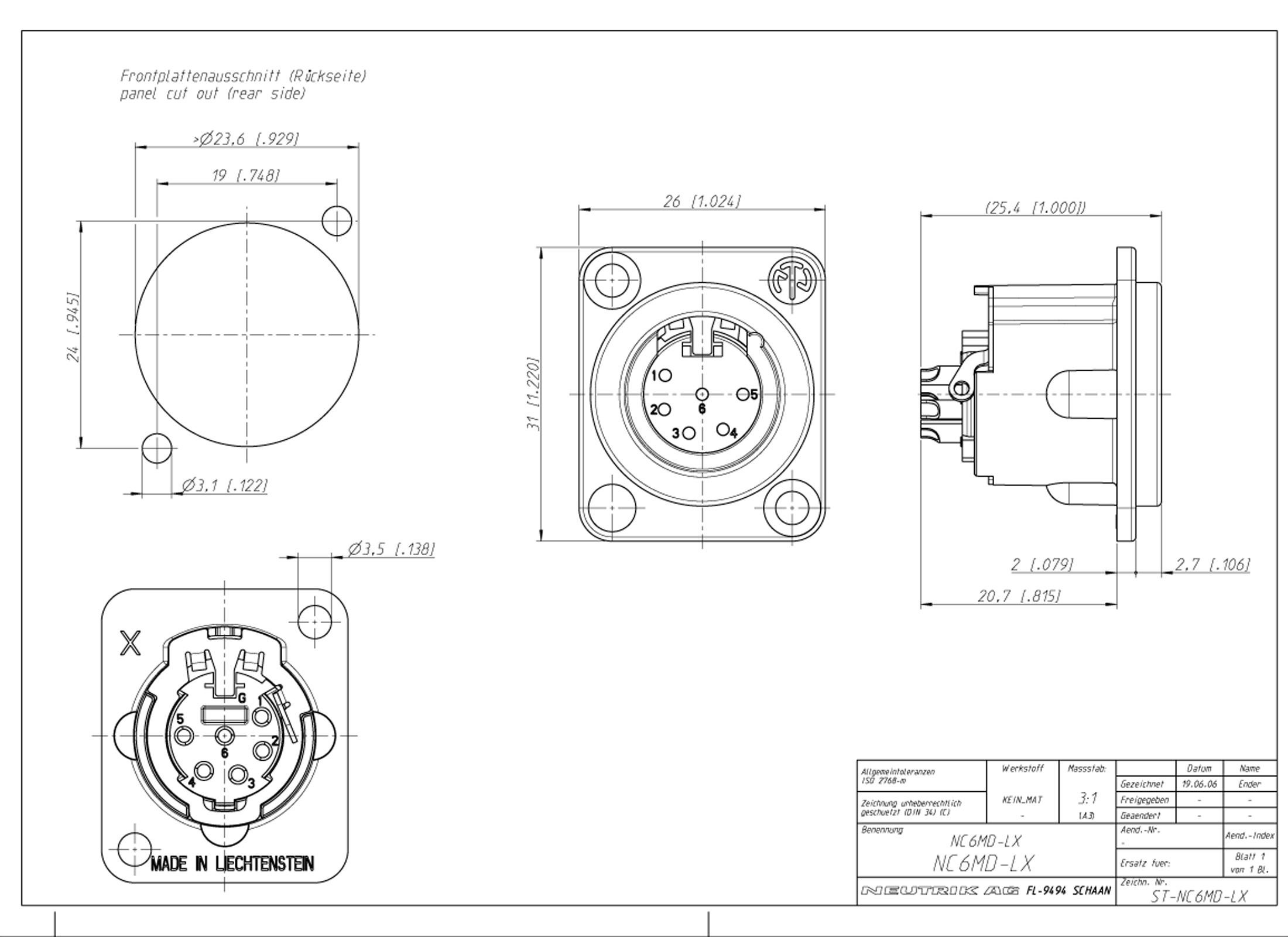 Neutrik Nc6md Lx B Xlr 5pin Panel Jack Black Online At Low Prices At Huss Light Amp Sound