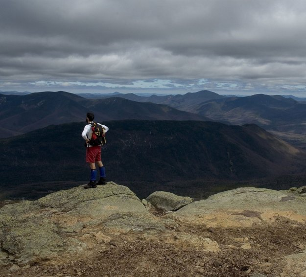 Hiker at Mt Lafayette, Appalachian Mountain Club Huts Photos, hut2hut