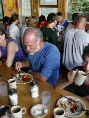 Dining at Galehead Hut, Credit: Lori Duff, Courtesy of AMC