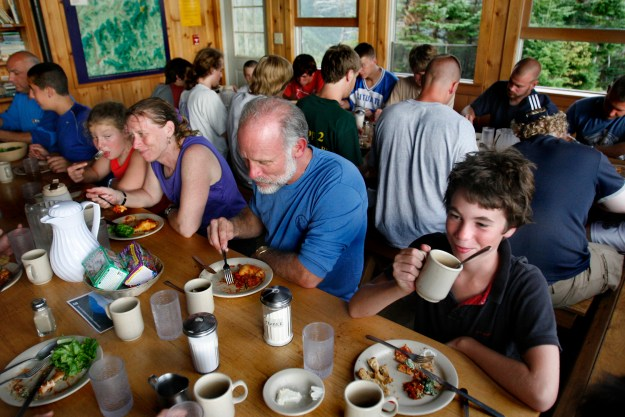 Dining at Galehead Hut, Appalachian Mountain Club Huts Photos, hut2hut