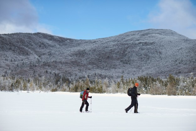 Snowshoer, Frozen Lake, Lonesome lake, Appalachian Mountain Club Huts Photos, hut2hut