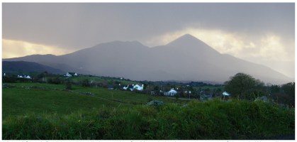 View of the holy mountain Croagh Patrick, ancient pilgrimage site, Co. Mayo, Ireland, © Amanda Wagstaff, 2010