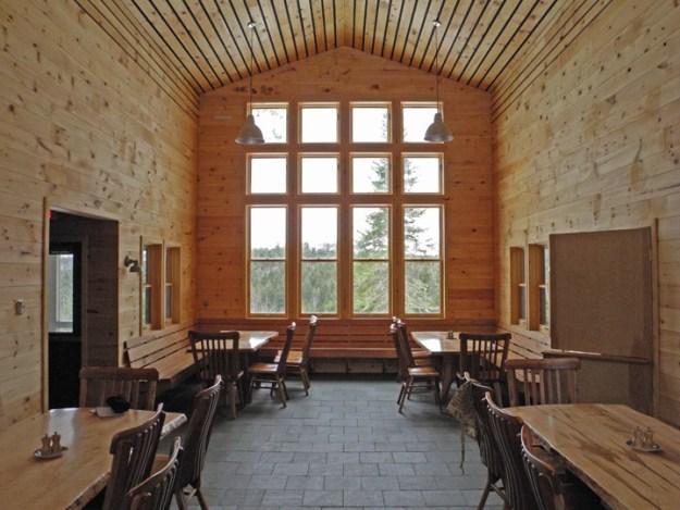 Grand Falls Hut Main Room, Maine Huts & Trails, hut2hut