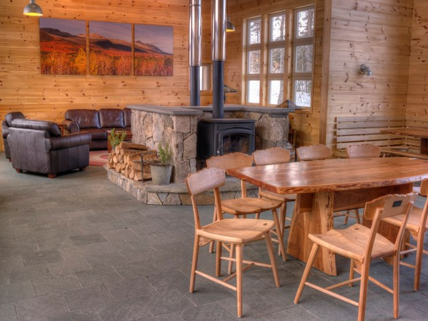 Stratton Brook Wood Stoves and Dining Room, Maine Huts & Trails, hut2hut