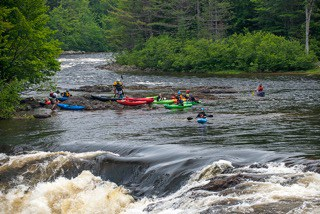 Kayakers on the river, Maine Huts & Trails, hut2hut