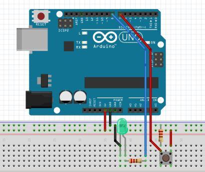 Arduino ja LED ja kytkin