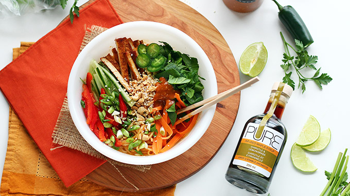 Chipotle Lemongrass Tofu Noodle Salad Bowl