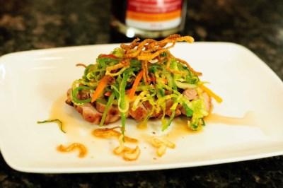 Grilled Pork Tenderloin with Pure Infused Maple Gastrique Vegetable Slaw