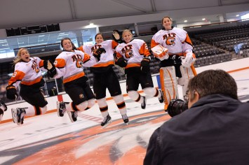 on the ice to capture the RIT women's hockey seniors