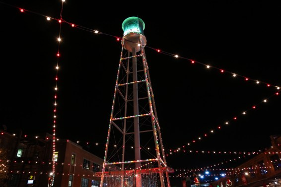 Durham ATC Lucky Strike water tower lit with Christmas lights