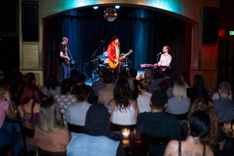 Huw Joseph and the Immoral Support band at Melb Int Comedy Fest 2014. Venue is Toff in Town Melb cbd.