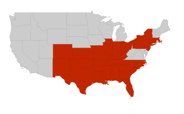 HVAC RepCo Coverage Territory Map