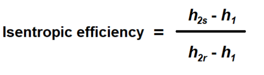 The formula for determining isentropic efficiency.