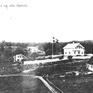 Postk Tjømø Bad og villa Sjøholt Einar Nordgaard uten dato