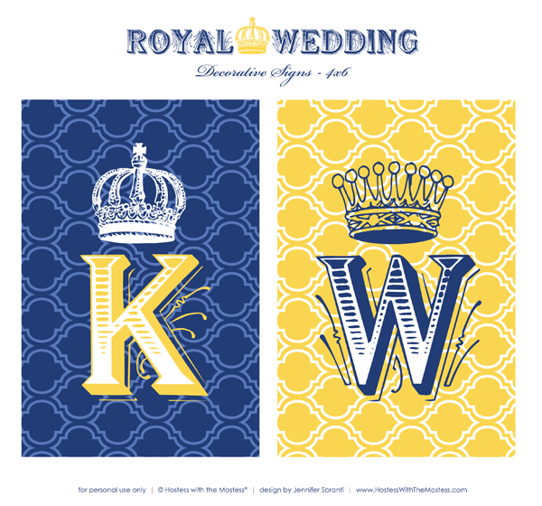 Royal Wedding Party Printables - Kate and William