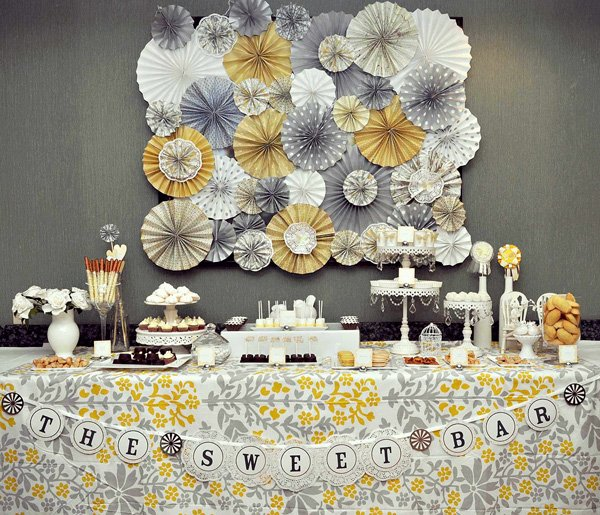 Yellow and Gray Dessert Table - Wedding or Engagement Party