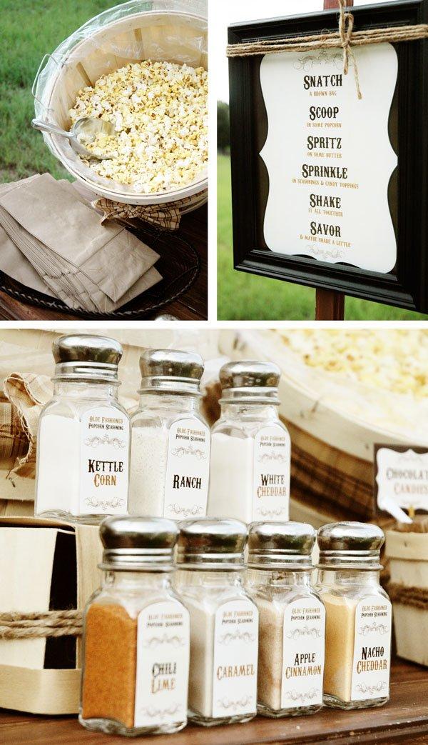 Rustic Popcorn Bar Elements