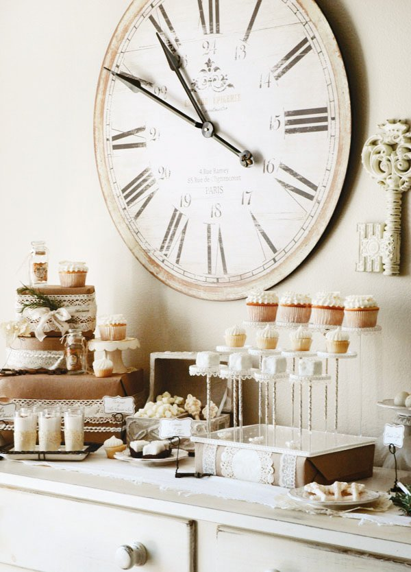 vintage french inspired winter dessert table