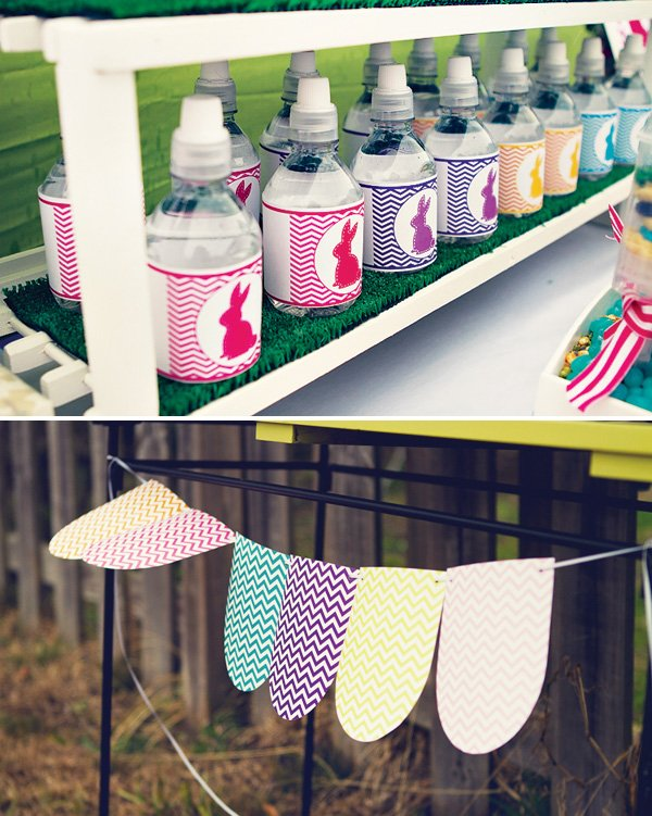 chevron easter birthday party - easter bunny water bottles