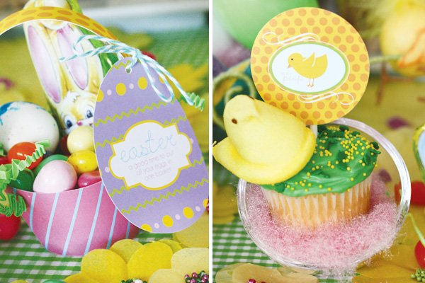 easter bunny collection egg basket and peep cupcake toppers