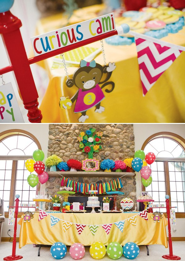 Colorful Modern Curious George Birthday Party Hostess With The Mostess