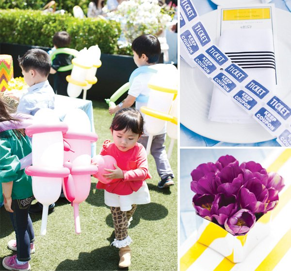 monopoly birthday party napkins, tickets, balloons and flowers