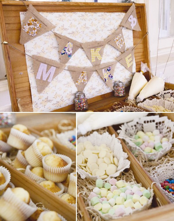 simple white wedding diy cupcake stations