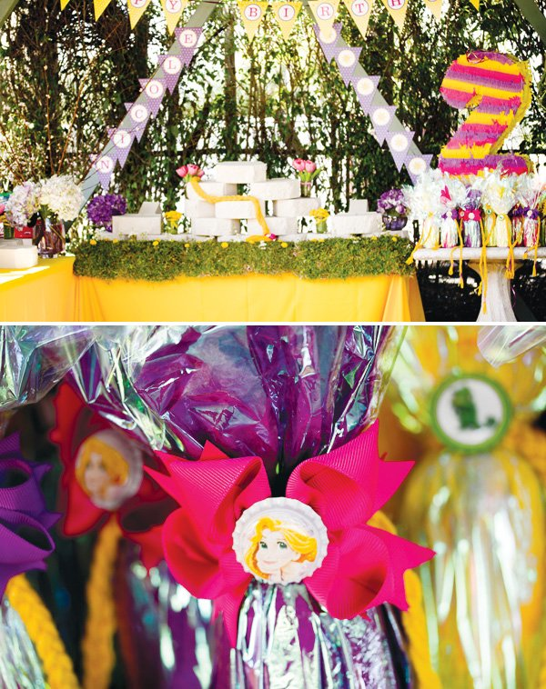 tangled birthday party food display and party favors