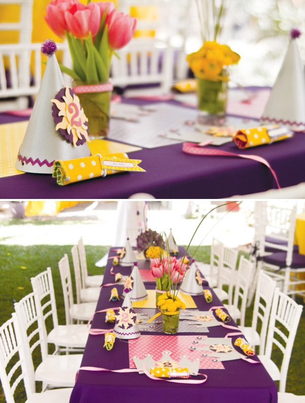 tangled birthday party kids tables and place settings