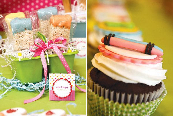 arts and crafts party cupcake toppers