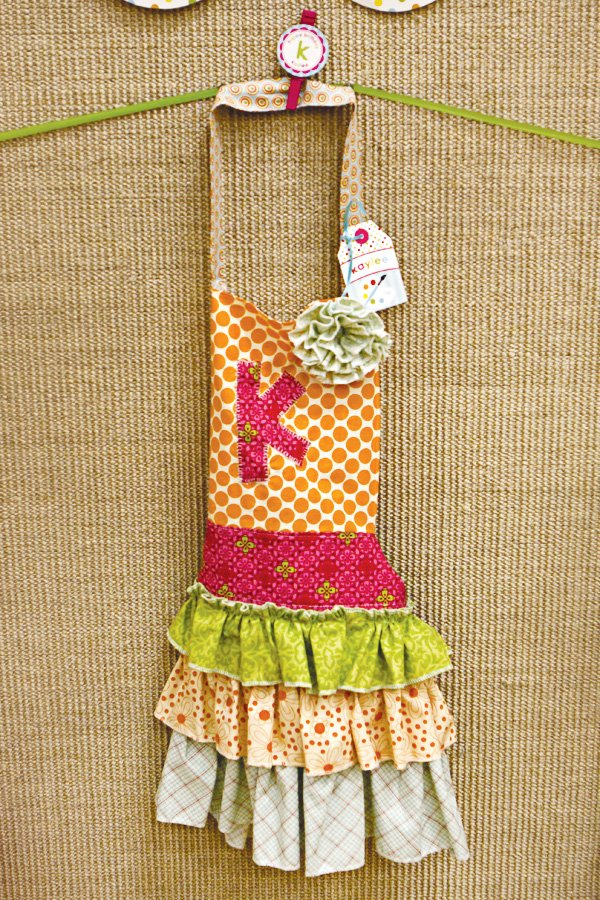 arts and crafts party monogrammed ruffled apron