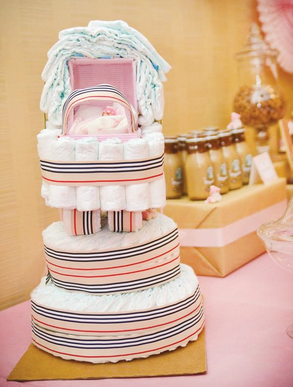 burberry baby shower diaper cake