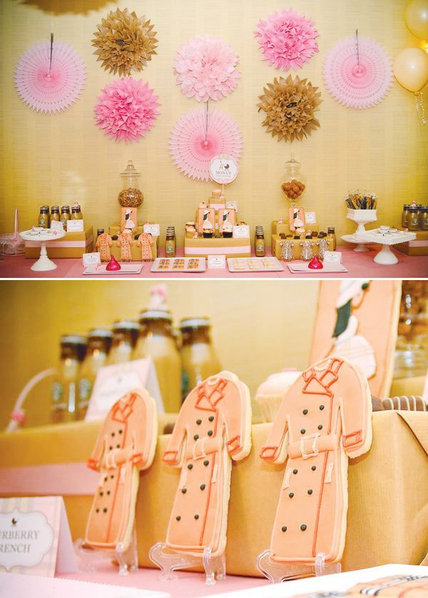 burberry love baby shower with classic trench coat cookies