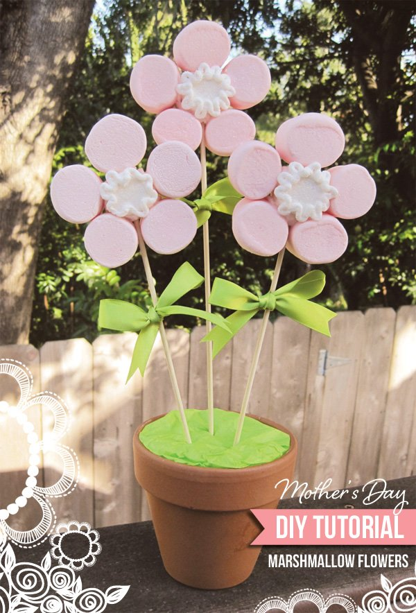 marshmallow mother's day flower bouquet tutorial